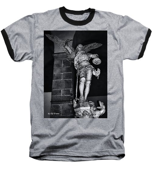 Baseball T-Shirt featuring the photograph St. Michel Slaying The Dragon by Elf Evans