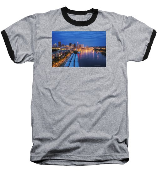 St Paul Skyline At Night Baseball T-Shirt