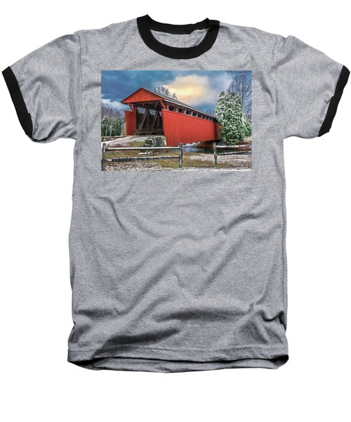 Staats Mill Covered Bridge Baseball T-Shirt