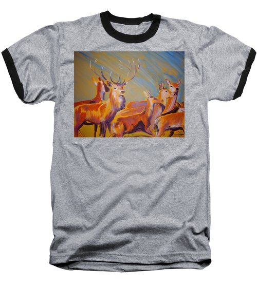 Stag And Deer Painting Baseball T-Shirt