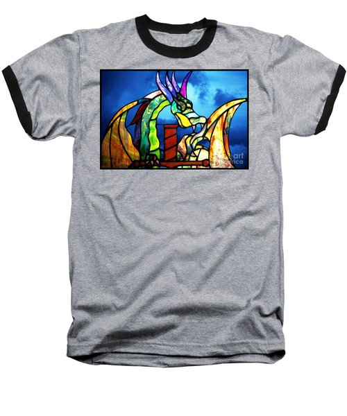 Stained Glass Dragon Baseball T-Shirt