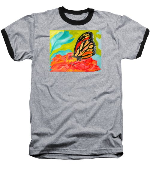 Baseball T-Shirt featuring the painting Stained Glass Flutters by Meryl Goudey