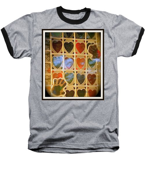 Baseball T-Shirt featuring the photograph Stained Glass Hands And Hearts by Kathy Barney