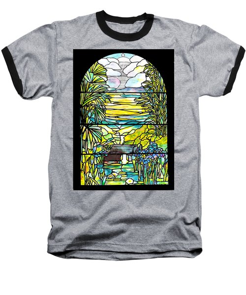 Stained Glass Tiffany Holy City Memorial Window Baseball T-Shirt