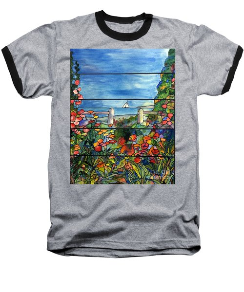 Stained Glass Tiffany Landscape Window With Sailboat Baseball T-Shirt
