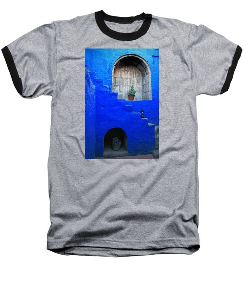 Staircase In Blue Courtyard Baseball T-Shirt by RicardMN Photography