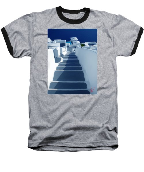 Stairs Down To Ocean Santorini Baseball T-Shirt