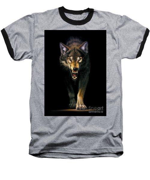Stalking Wolf Baseball T-Shirt by MGL Studio - Chris Hiett
