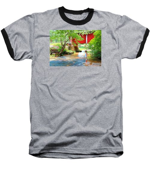 Standing By The River At Campbell's Bridge Baseball T-Shirt