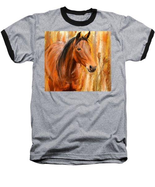 Standing Regally- Bay Horse Paintings Baseball T-Shirt