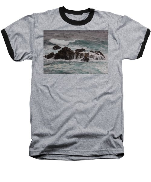 Baseball T-Shirt featuring the photograph Standing Up To The Waves by Suzanne Luft