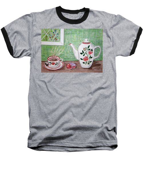 Baseball T-Shirt featuring the painting Stangl Pottery Rose Pattern by Kathy Marrs Chandler