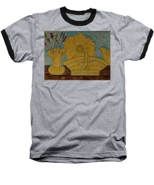 Baseball T-Shirt featuring the painting Stangl Pottery Satin Yellow Pattern And Vintage Hat Pins by Kathy Marrs Chandler