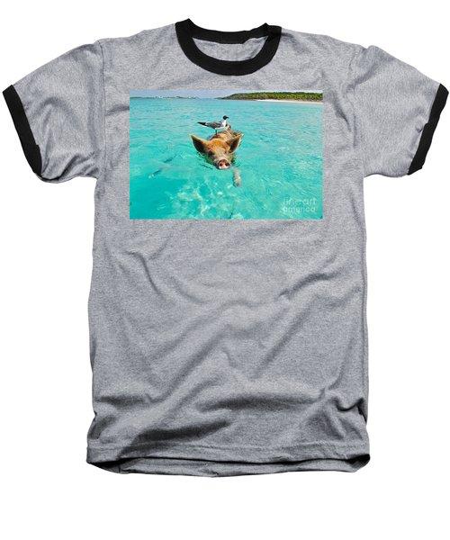 Staniel Cay Swimming Pig Seagull Fish Exumas Baseball T-Shirt