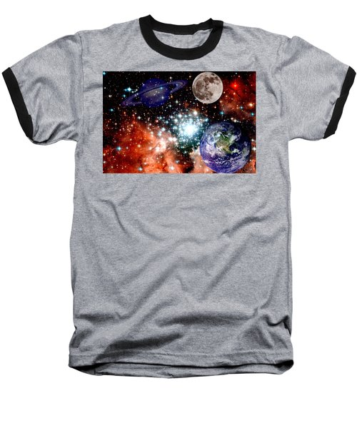 Star Field With Planets Baseball T-Shirt