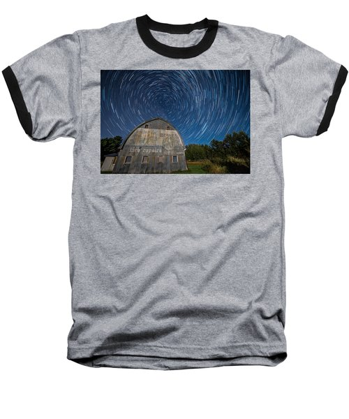 Star Trails Over Barn Baseball T-Shirt