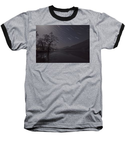 Star Trails Over Lake Baseball T-Shirt