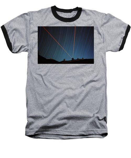 Star Trails Over Mauna Kea Observatory Baseball T-Shirt