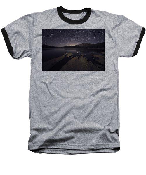 Star Trails Over Silver Lake Resort Baseball T-Shirt