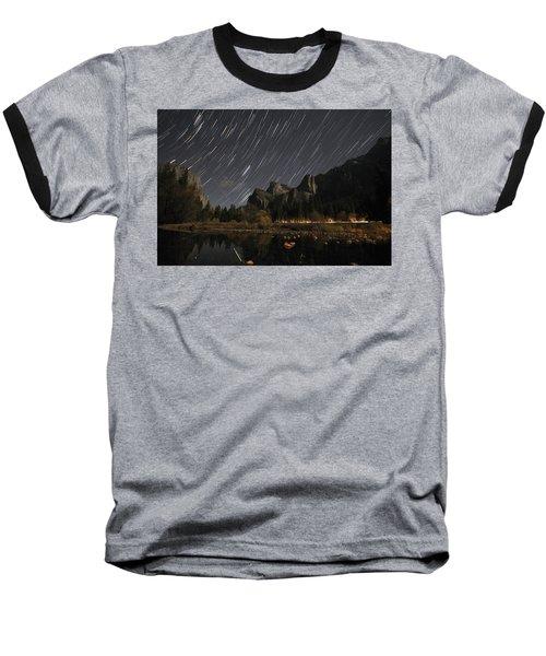 Star Trails Over Yosemite Baseball T-Shirt