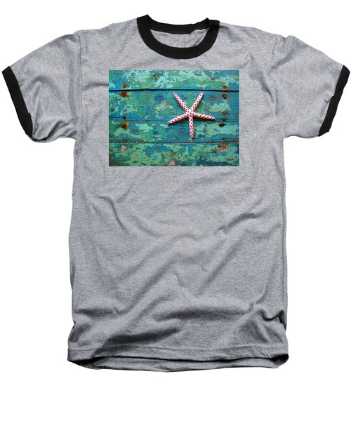 Seashore Peeling Paint - Starfish And Turquoise Baseball T-Shirt