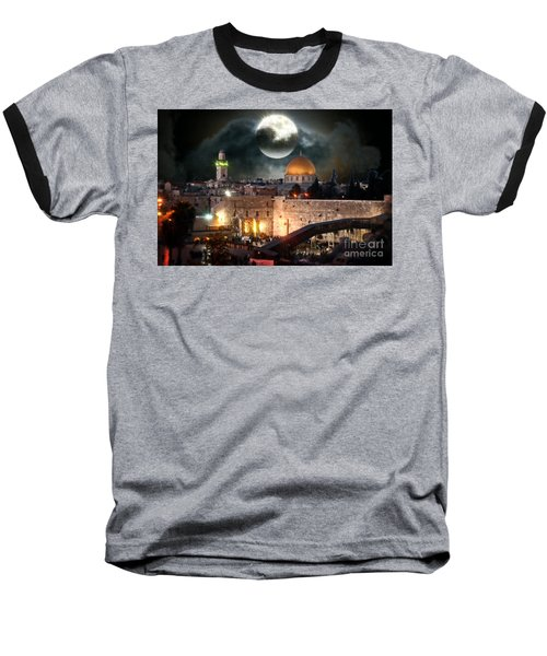 Starry Night At The Dome Of The Rock Baseball T-Shirt by Doc Braham