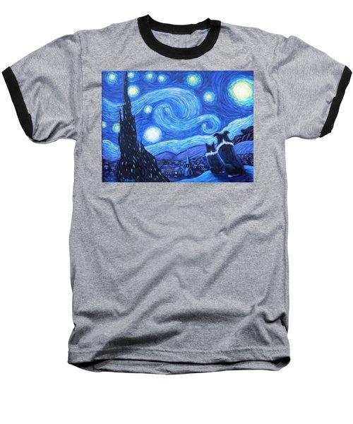 Starry Night Border Collies Baseball T-Shirt
