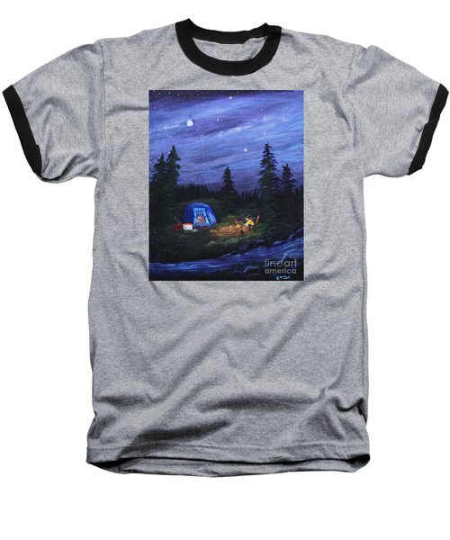 Starry Night Campers Delight Baseball T-Shirt by Myrna Walsh