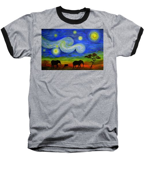 Starry Night Over Africa Baseball T-Shirt