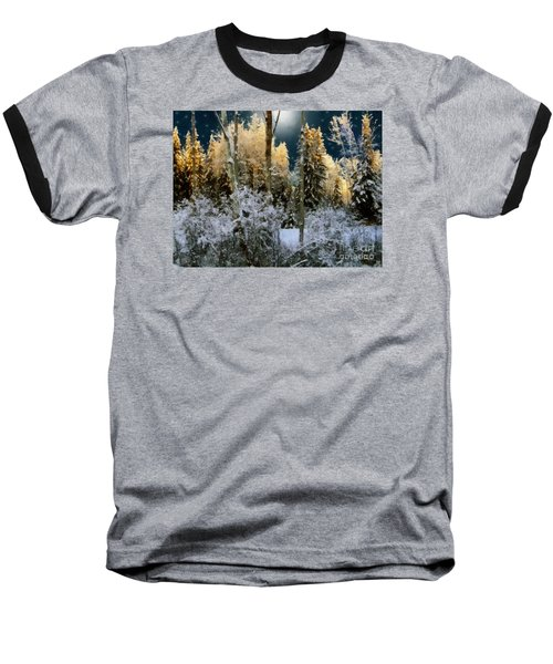 Starshine On A Snowy Wood Baseball T-Shirt by RC deWinter