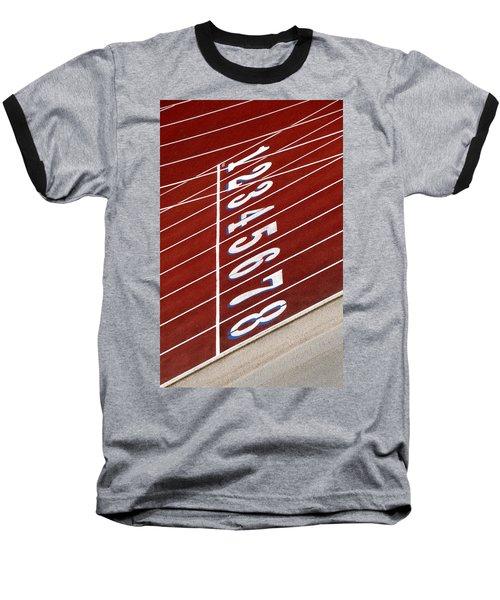 Track Starting Line Baseball T-Shirt by Phil Cardamone
