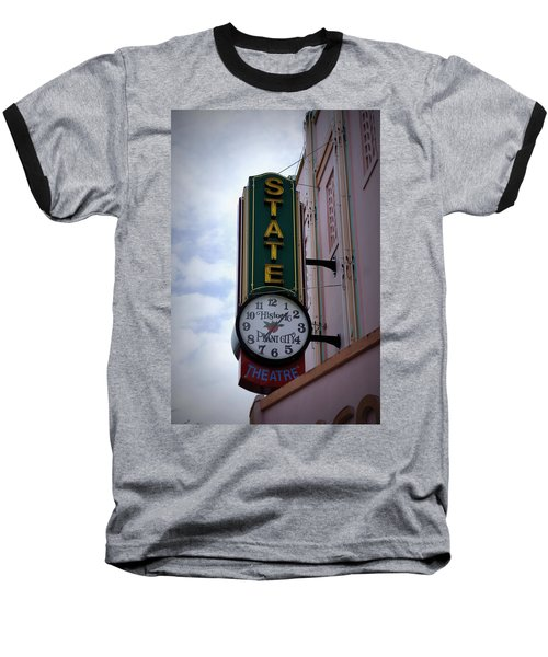 State Theatre Sign Baseball T-Shirt by Laurie Perry