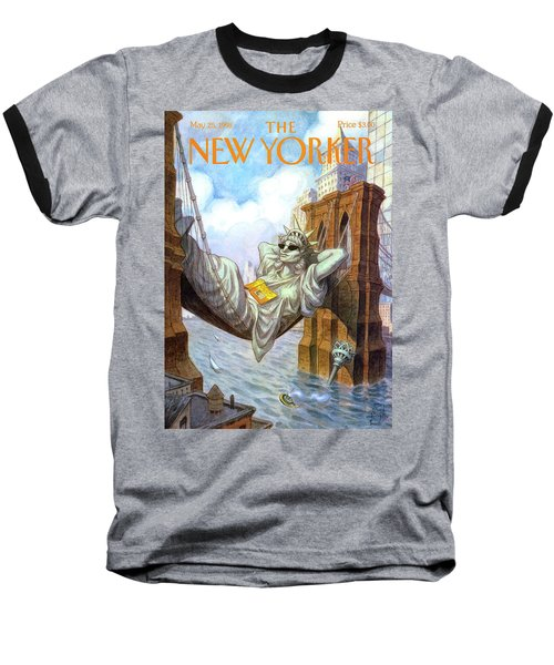 Statue Of Liberty Lounges Between The Brooklyn Baseball T-Shirt