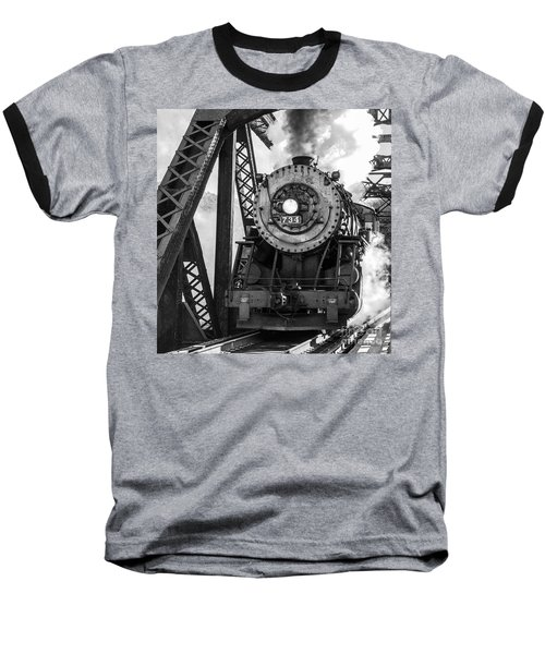 Steam Engine 734 Leaving The Narrows Baseball T-Shirt