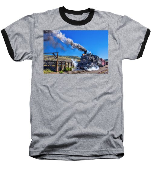 Steam Engine Relic Baseball T-Shirt by Steven Bateson