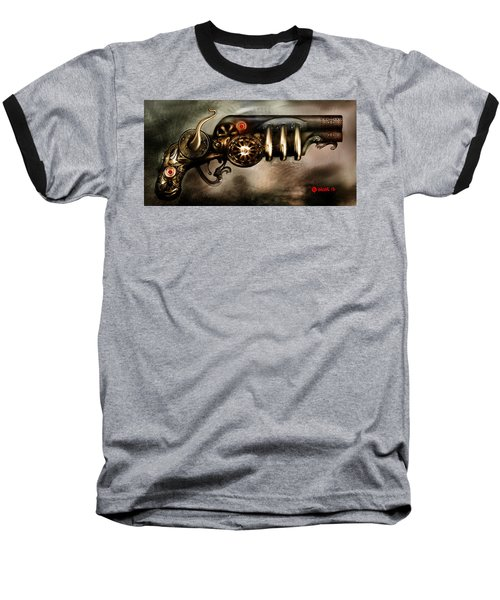 Baseball T-Shirt featuring the digital art Steam Punk Pistol Mk II by Kim Gauge