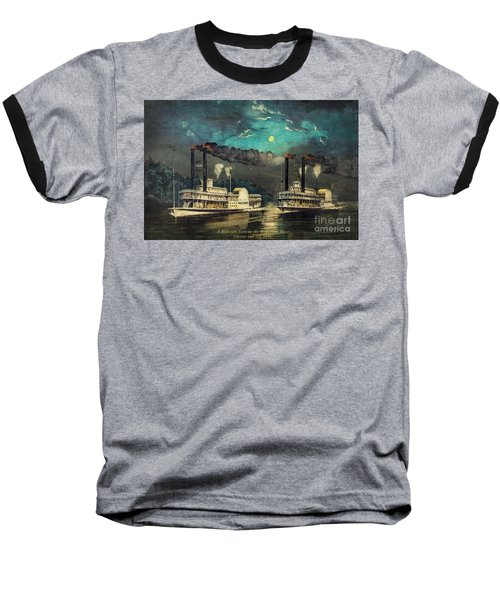 Baseball T-Shirt featuring the digital art Steamboat Racing On The Mississippi by Lianne Schneider