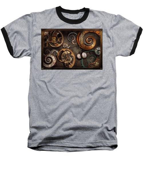 Steampunk - Abstract - Time Is Complicated Baseball T-Shirt by Mike Savad