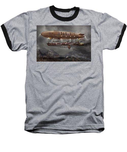 Steampunk - Blimp - Airship Maximus  Baseball T-Shirt by Mike Savad