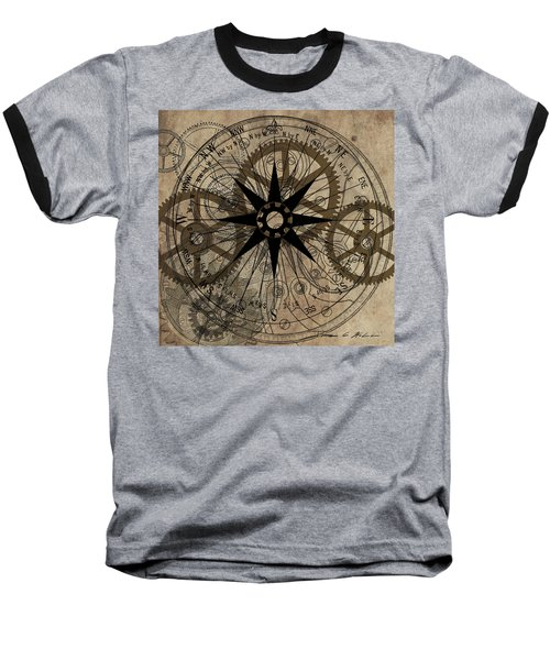 Baseball T-Shirt featuring the painting Steampunk Gold Gears II  by James Christopher Hill