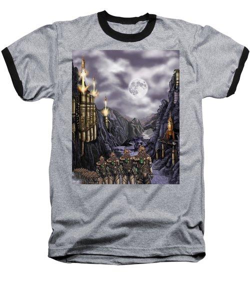 Steampunk Moon Invasion Baseball T-Shirt