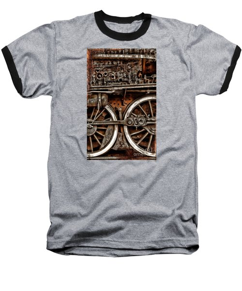 Steampunk- Wheels Locomotive Baseball T-Shirt
