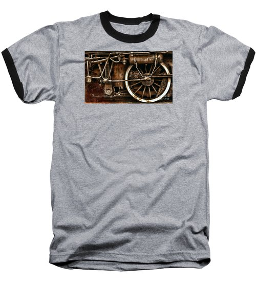 Steampunk- Wheels Of Vintage Steam Train Baseball T-Shirt