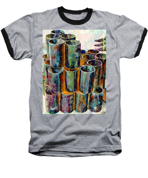 Steel Pipes Baseball T-Shirt by Lilliana Mendez