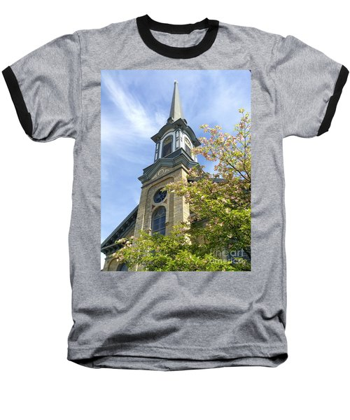 Baseball T-Shirt featuring the photograph Steeple Church Arch Windows by Becky Lupe