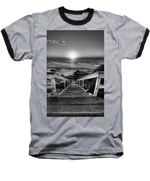 Steps To The Sun  Black And White Baseball T-Shirt by Peter Tellone