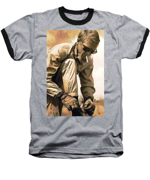 Steve Mcqueen Artwork Baseball T-Shirt