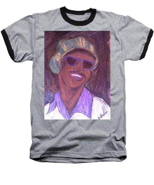 Baseball T-Shirt featuring the drawing Stevie Wonder 2 by Christy Saunders Church