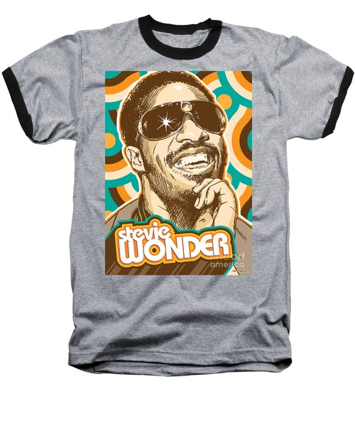 Stevie Wonder Pop Art Baseball T-Shirt by Jim Zahniser