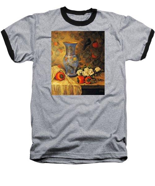 Still Life Of Persimmons  Baseball T-Shirt by Donna Tucker